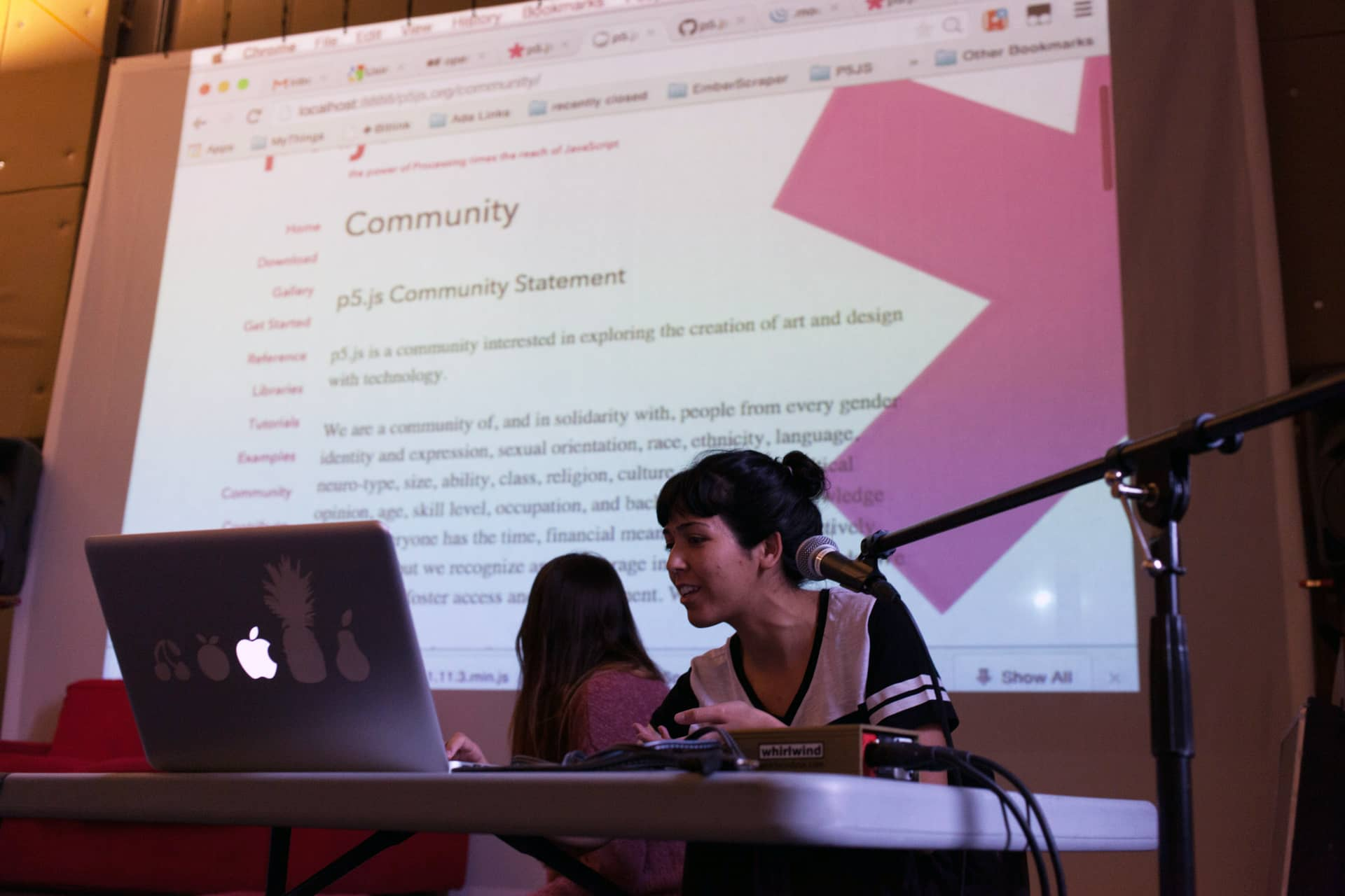 Woman presenting the p5.js community statement from her laptop""