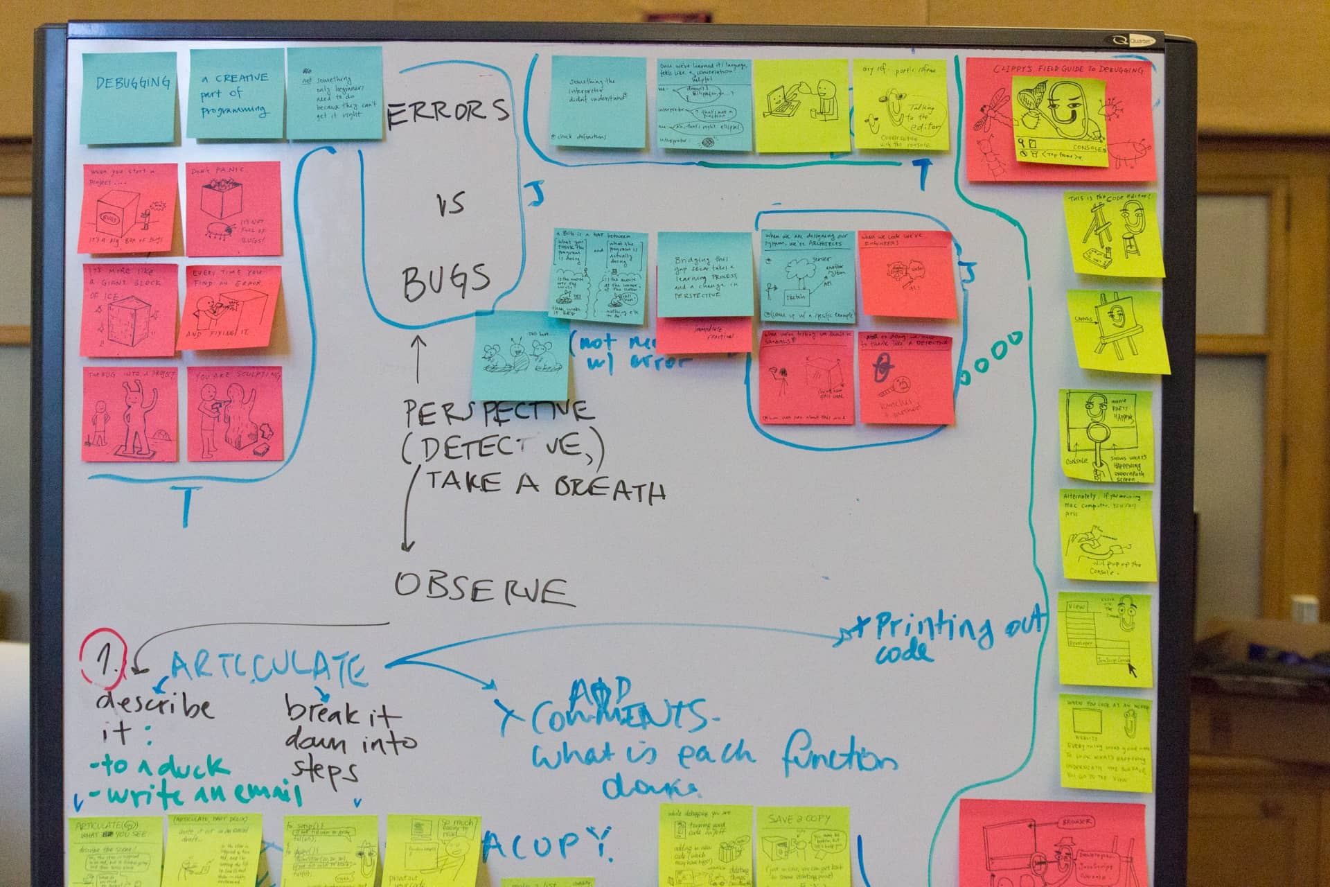 Whiteboard with different colored sticky and written notes about programming""