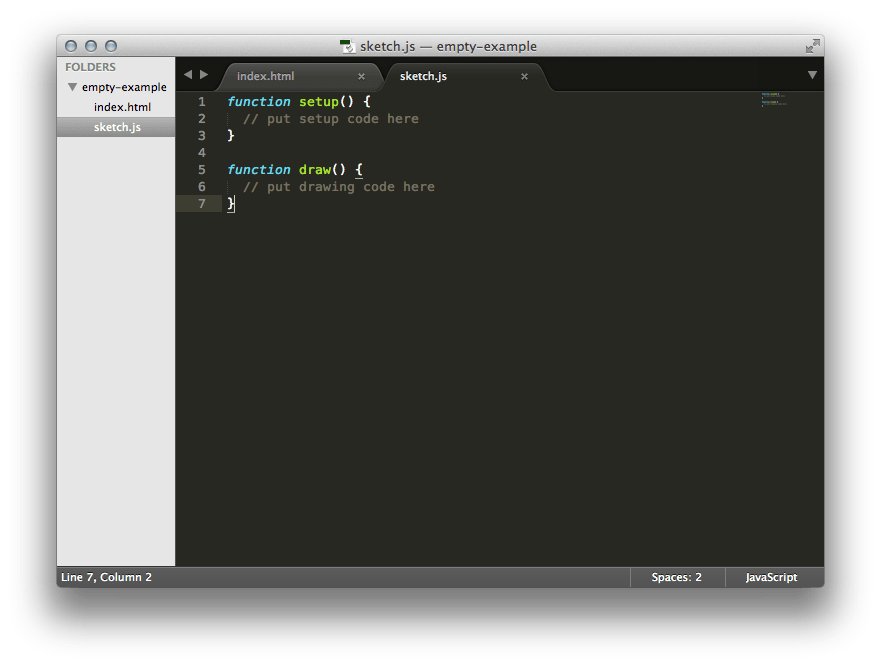 p5 starter code opened up in sublime editor.