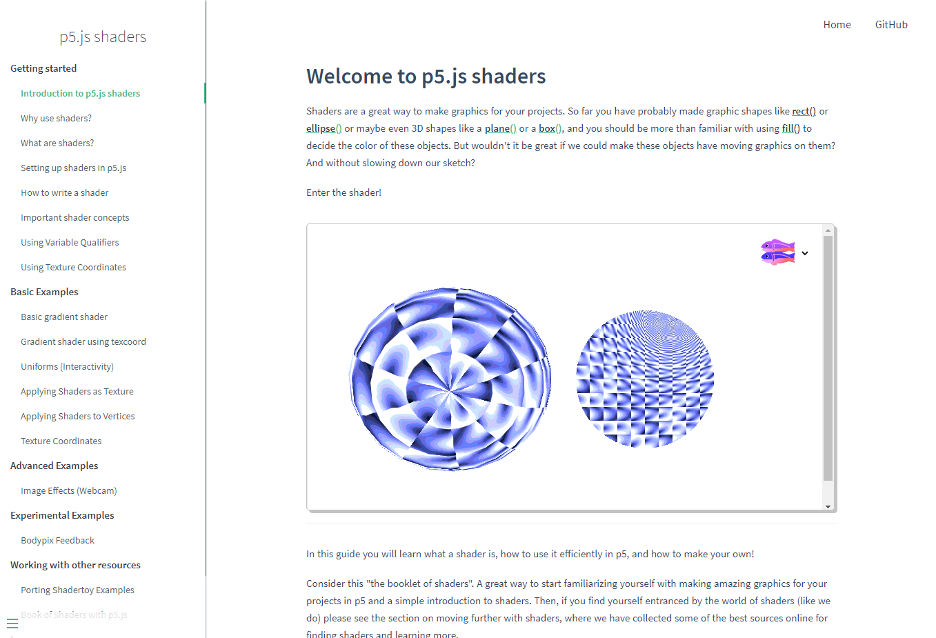 A screenshot of the Introduction page of the p5.js Shaders guide website
