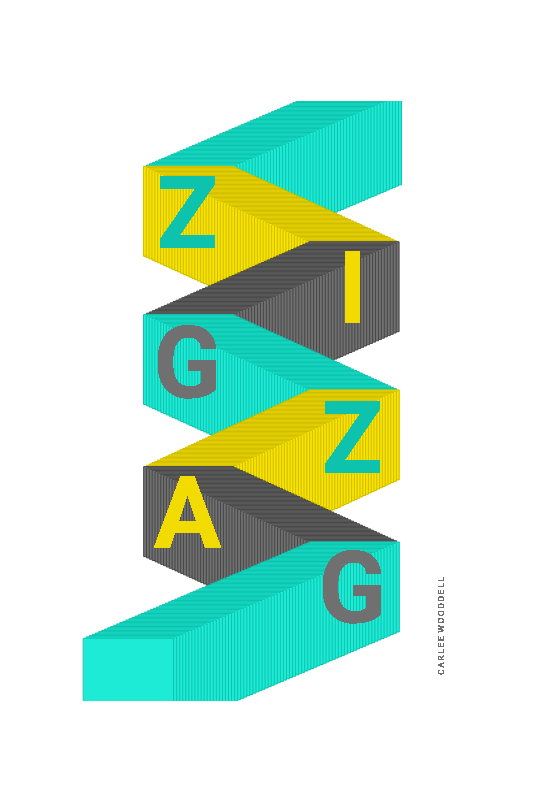 A screenshot of student Carlee Wooddell's poster that interprets the word zigzag using letters that bounce left and right