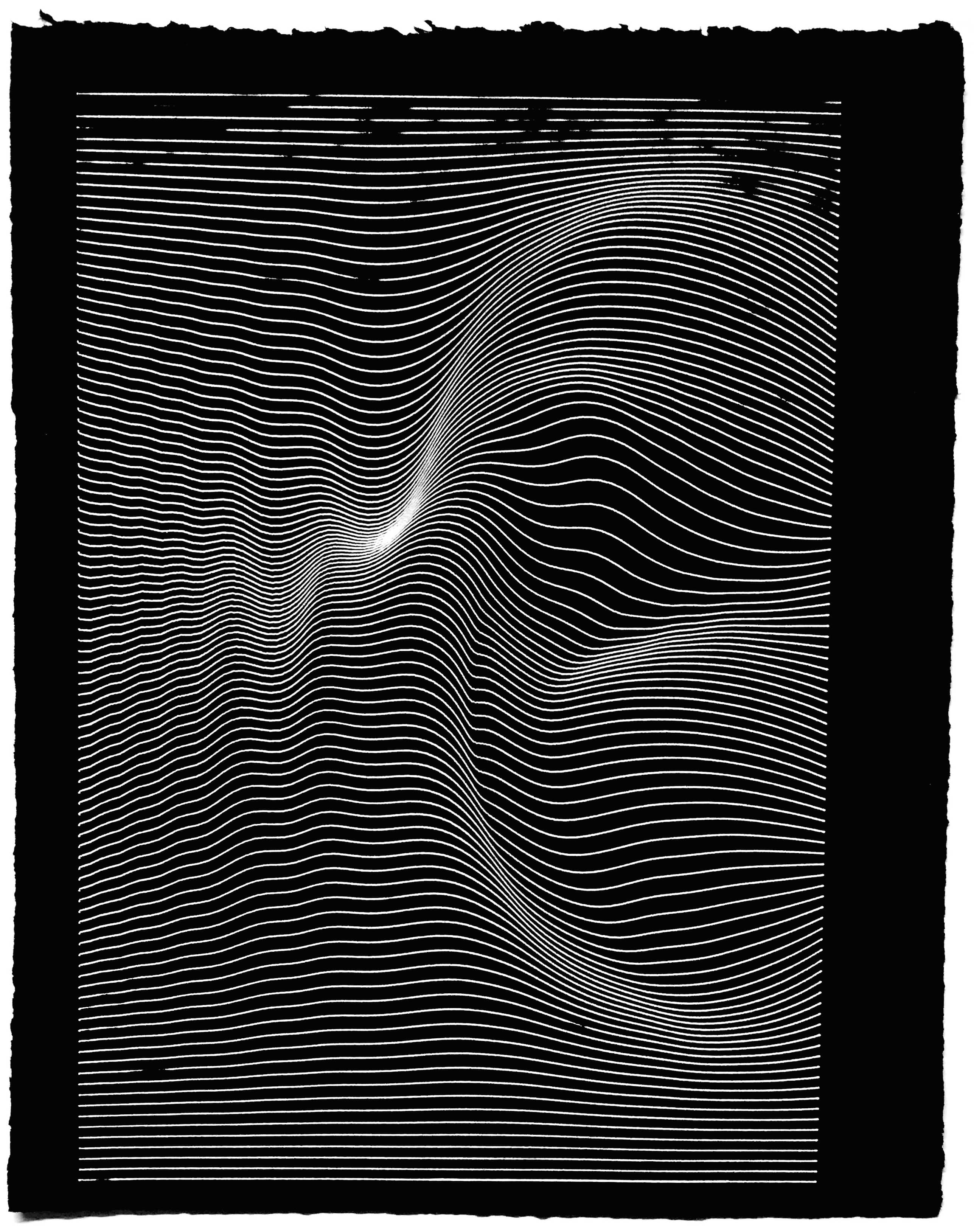 A drawing of a sine wave lerp plotted on black paper using an AxiDraw V3 and a white gel pen.